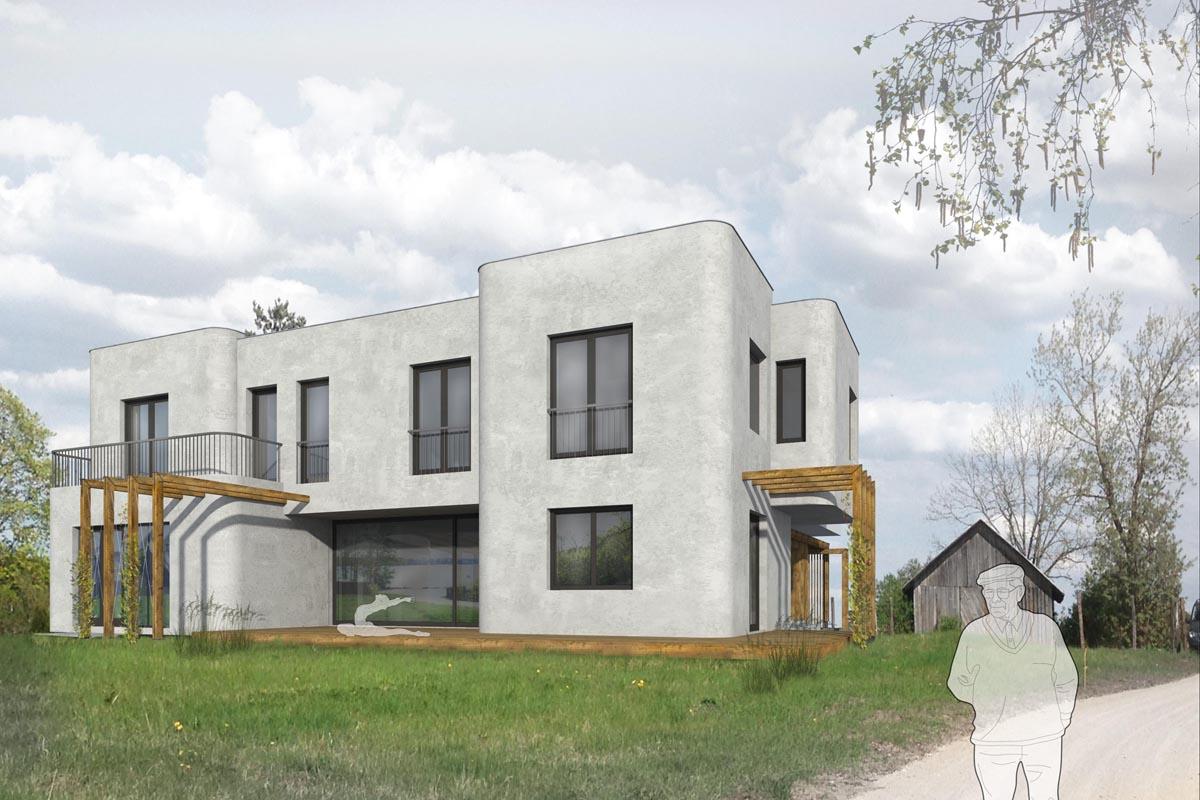 Baltas vieglbetona mūra ģimenes dzīvojamā privātmājas arhitektūras 3D vizualizācija pie Baltezera Alderos