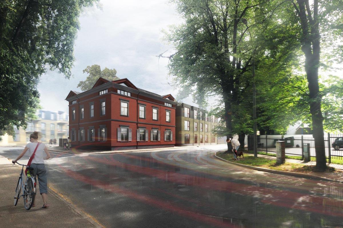 Divu dzīvojamo ēku - atjaunotas koka mājas un jaunbūves projekta vizualizācija ielas stūrī Āgenskalnā Baložu ielā 9, projektētājs Teeja arhitekti