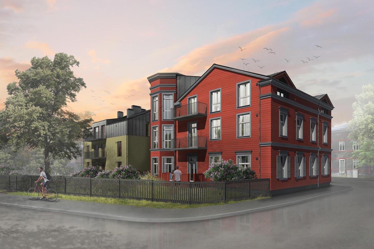 Divu dzīvojamo māju projekta 3D vizualizācija Āgenskalnā ar sarkanu un zaļu koka dēļu apdares fasādi Baložu ielā 9 Rīga