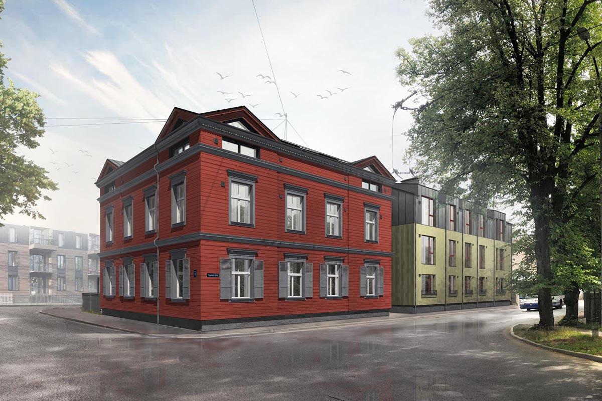 Sarkanu koka dēļu ēkas arhitektūra ielas stūrī ar pelēkiem dzegas elementiem sandrikiem karnīzēm un slēģiem