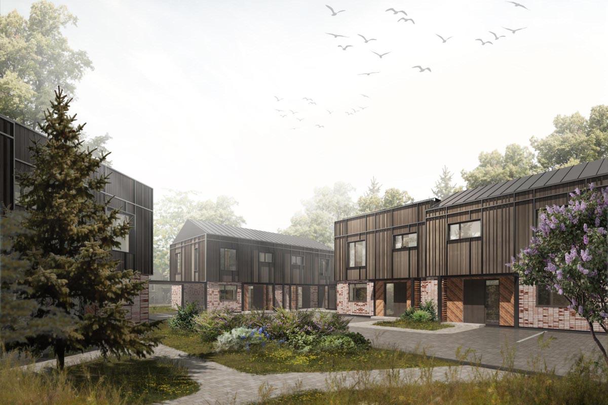 Dzīvojamās mājas arhitektūras 3D vizualizācija ar koka un ķieģeļu apdari un apzaļumotu priekšpagalmu