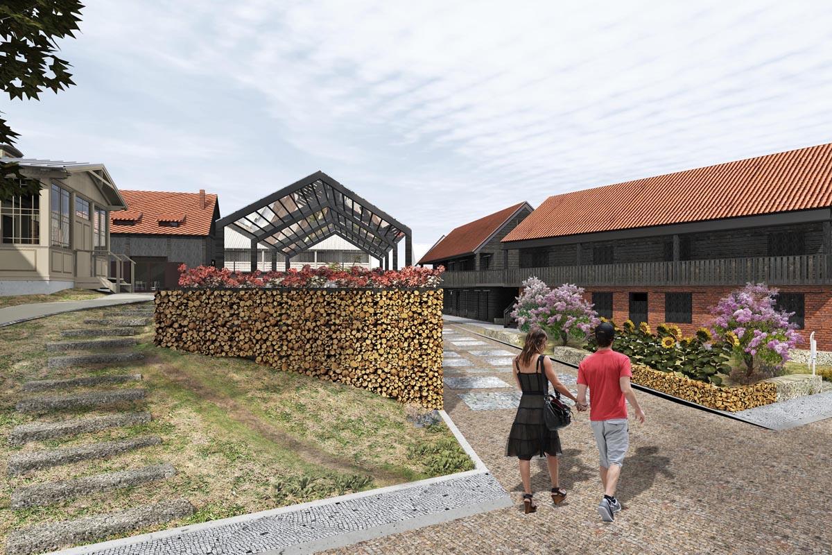 Arhitektūras vizualizācija kvartāla apbūves priekšlikumam Kalna ielā 14, Kuldīgā