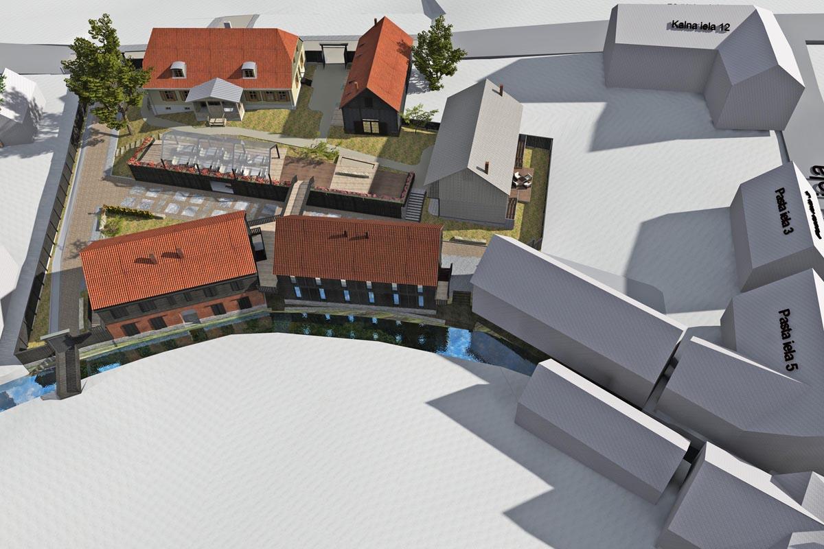 Kvartāla apbūves arhitektūras 3D vizualizācija Kuldīgā skatā no augšas birdview