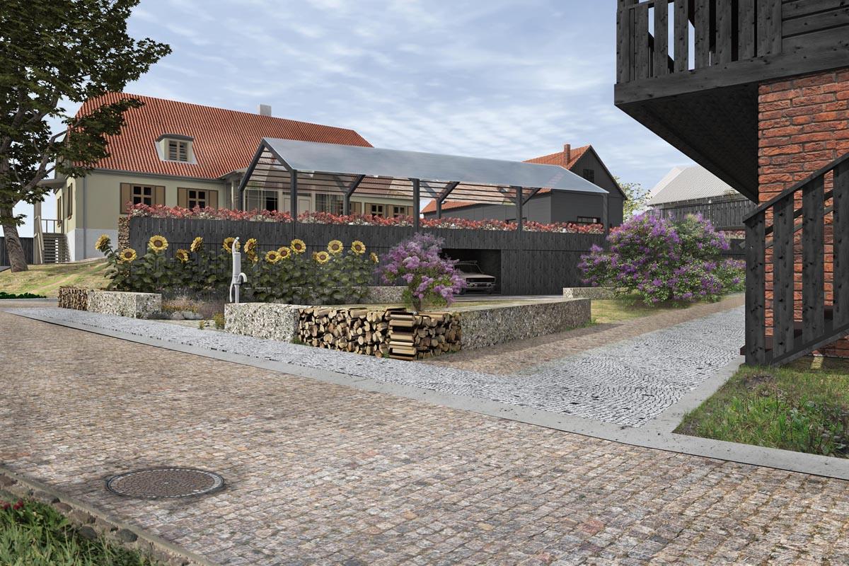 Kuldīgas kvartāla iekšpagalma mājīgs labiekārtojuma dizains ar bruģētu ielu un koka dēļu klasiskām fasādēm