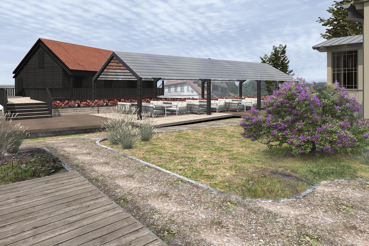 Kvartāla apbūve Kuldīgā pie Alekšupes ar restorāna terasi un ceriņu krūmu
