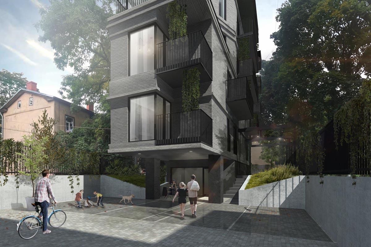 Arhitektu biroja TEEJA konkursa priekšlikums māju iekšpagalmam ar mājīgu apzaļumotu pagalma labiekārtojumu un ķieģeļu erkeri virs ieejas