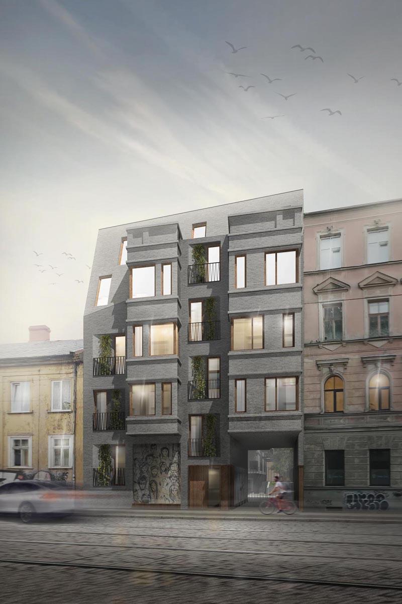 Mieras ielas republikas noskaņā radīta arhitektūra dzīvojamās mājas ielas fasādei Rīgas vēsturiskajā centrā