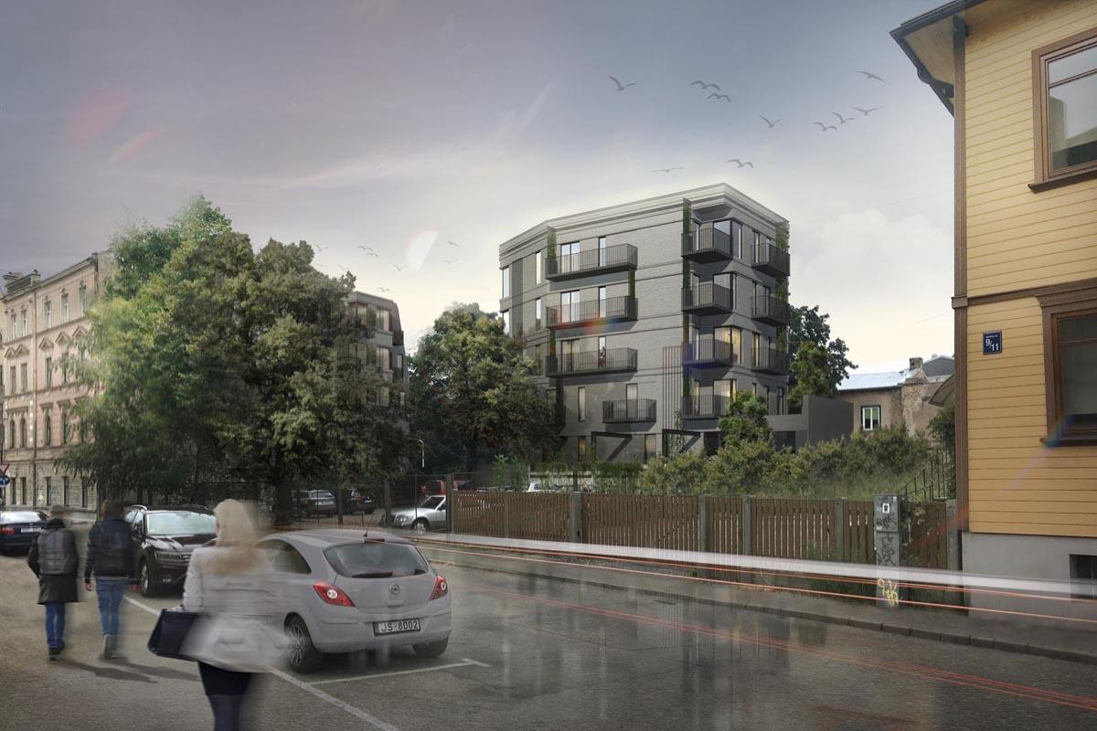 Ķieģeļu dzīvojamās mājas jaunbūves Miera ielā 30 arhitektūras vizualizācija no Palīdzības ielas puses