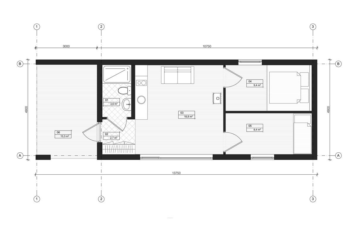 Mājas pirmā stāva arhitektūras plāna rasējums