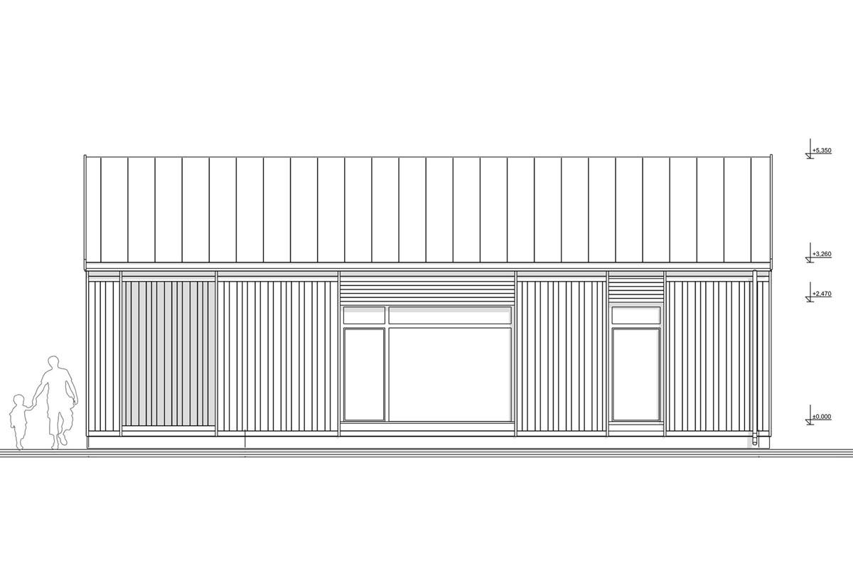 Mājas 3D BIM melnbalts modelis skatā no augšas ar koka karkasa konstrukciju