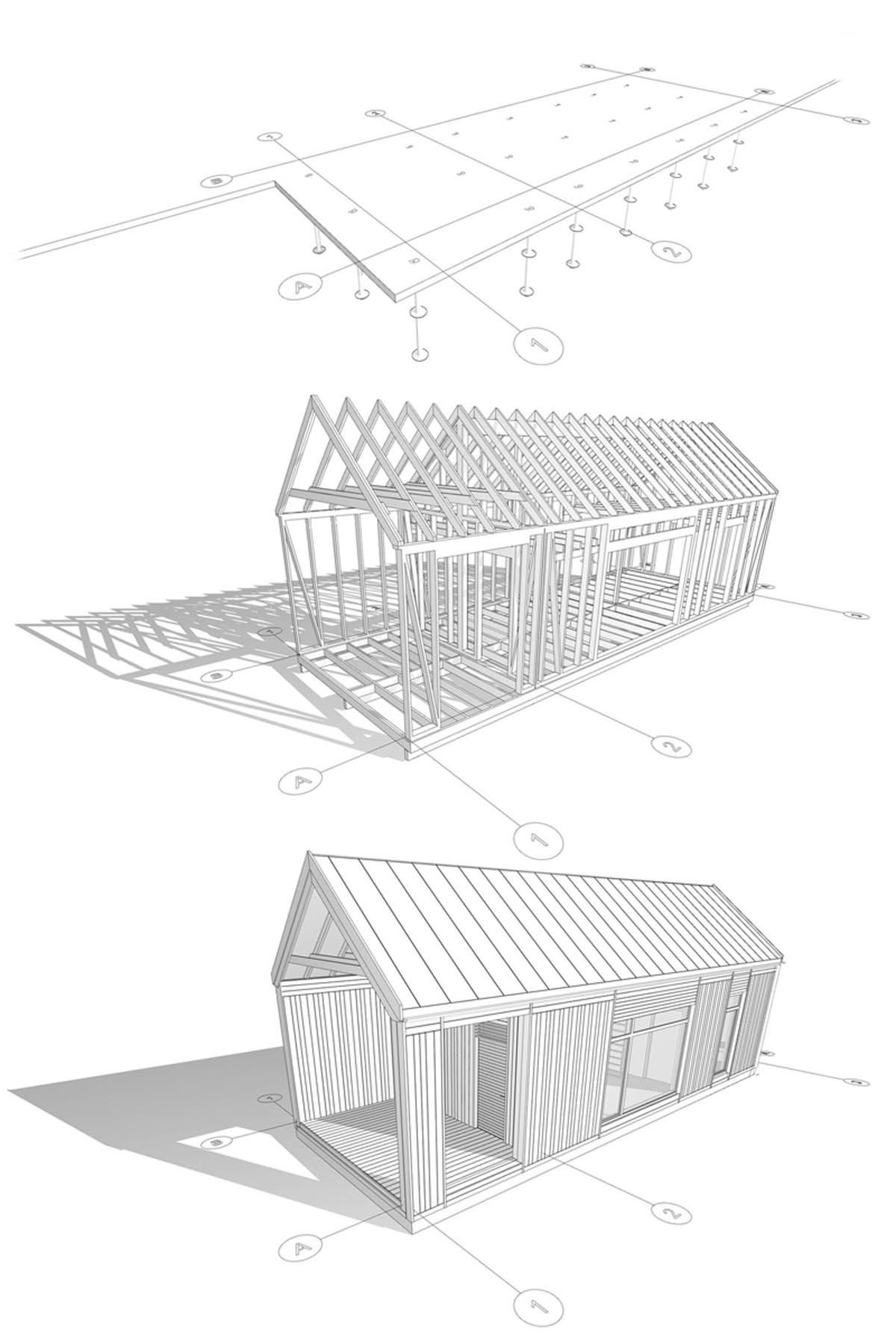 Mājas arhitektūras koka dēļu fasādes rasējums