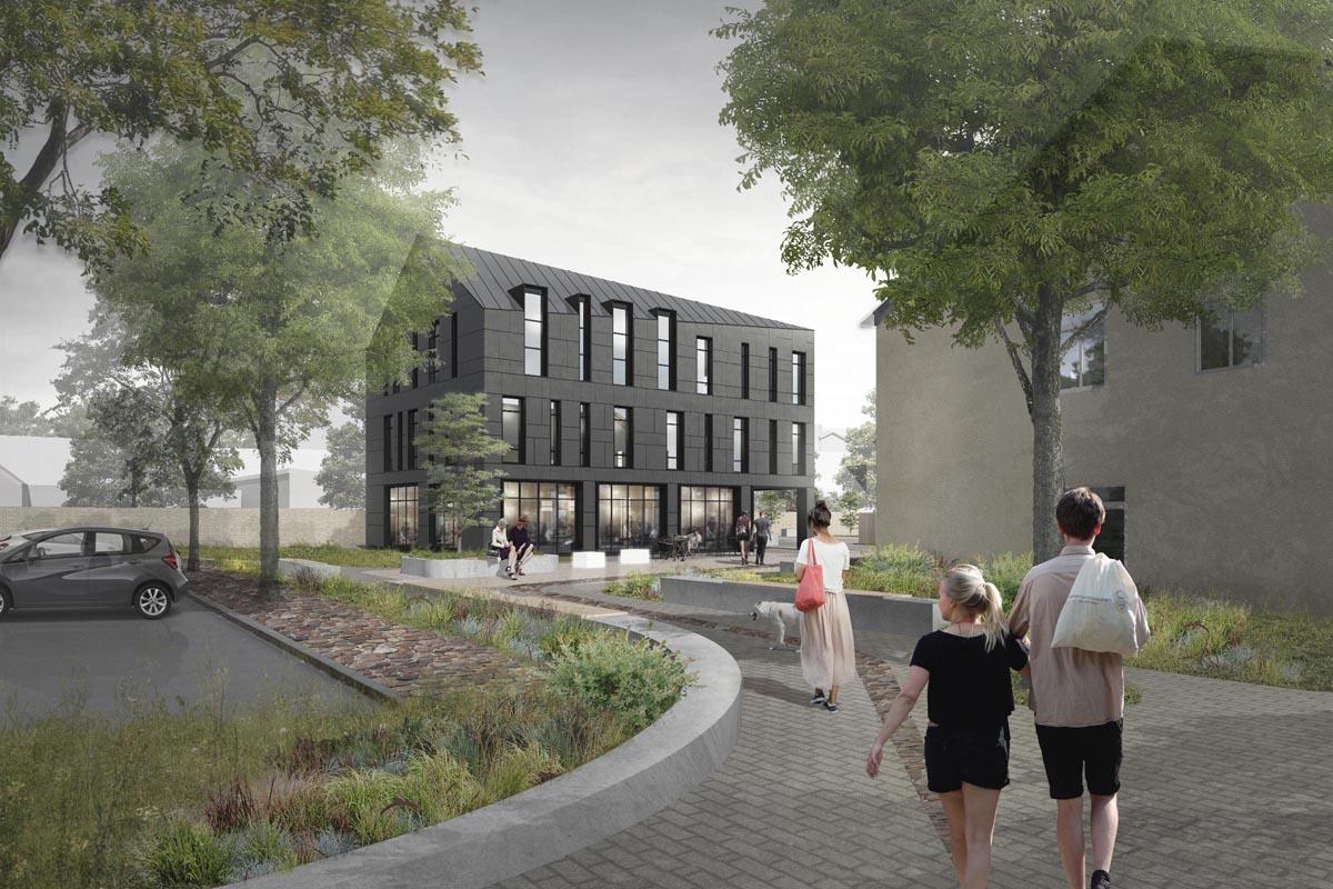 Arhitektūras vizualizācija - biroju ēkas projekts, Platā iela 8, Ventspils