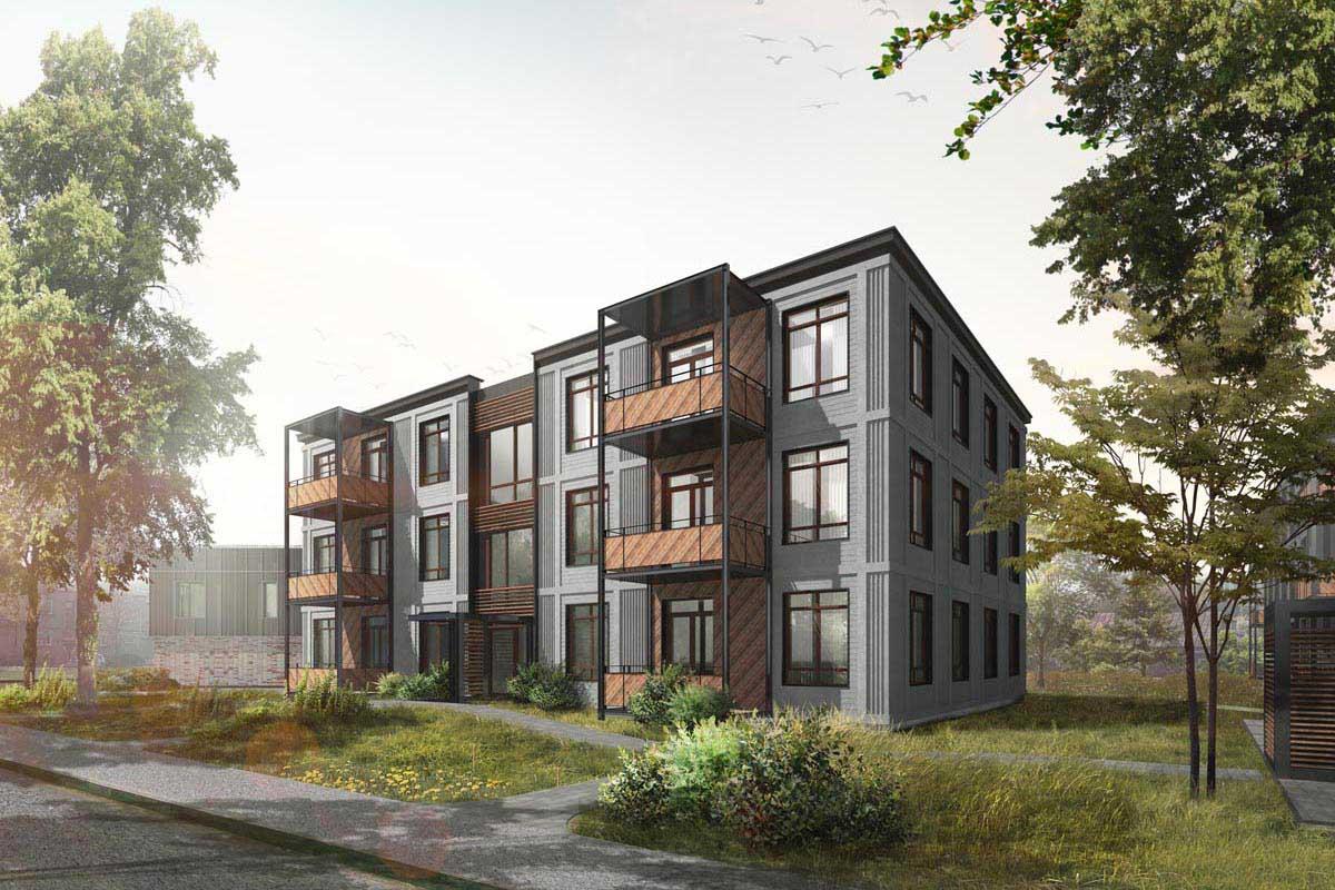 Dzīvojamā māja projekta 3D vizualizācija Mežaparkā ar apzaļumotu labiekārtojuma ainavu arhitektūru
