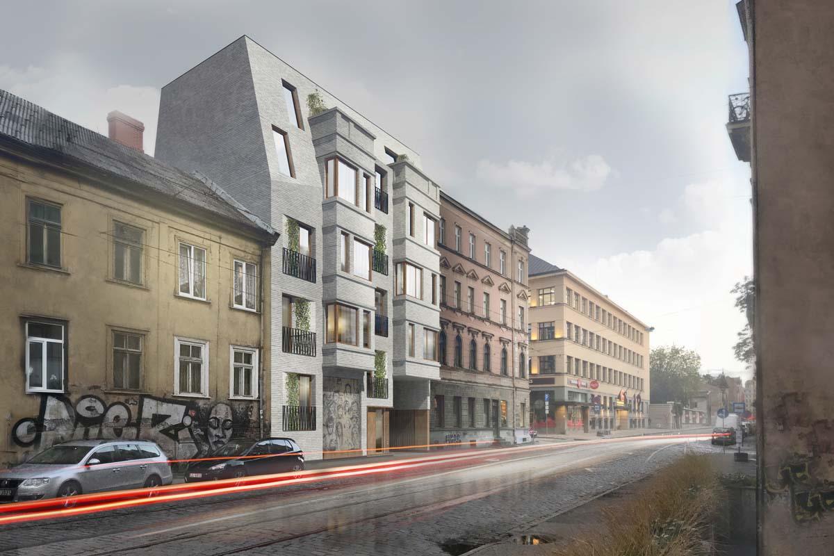 Miera 30 projekts dzīvojamā māja Teeja arhitektu konkursa priekšlikums ar pelēku ķieģeļu apdari izstrādāts BIM projektēšanas vidē