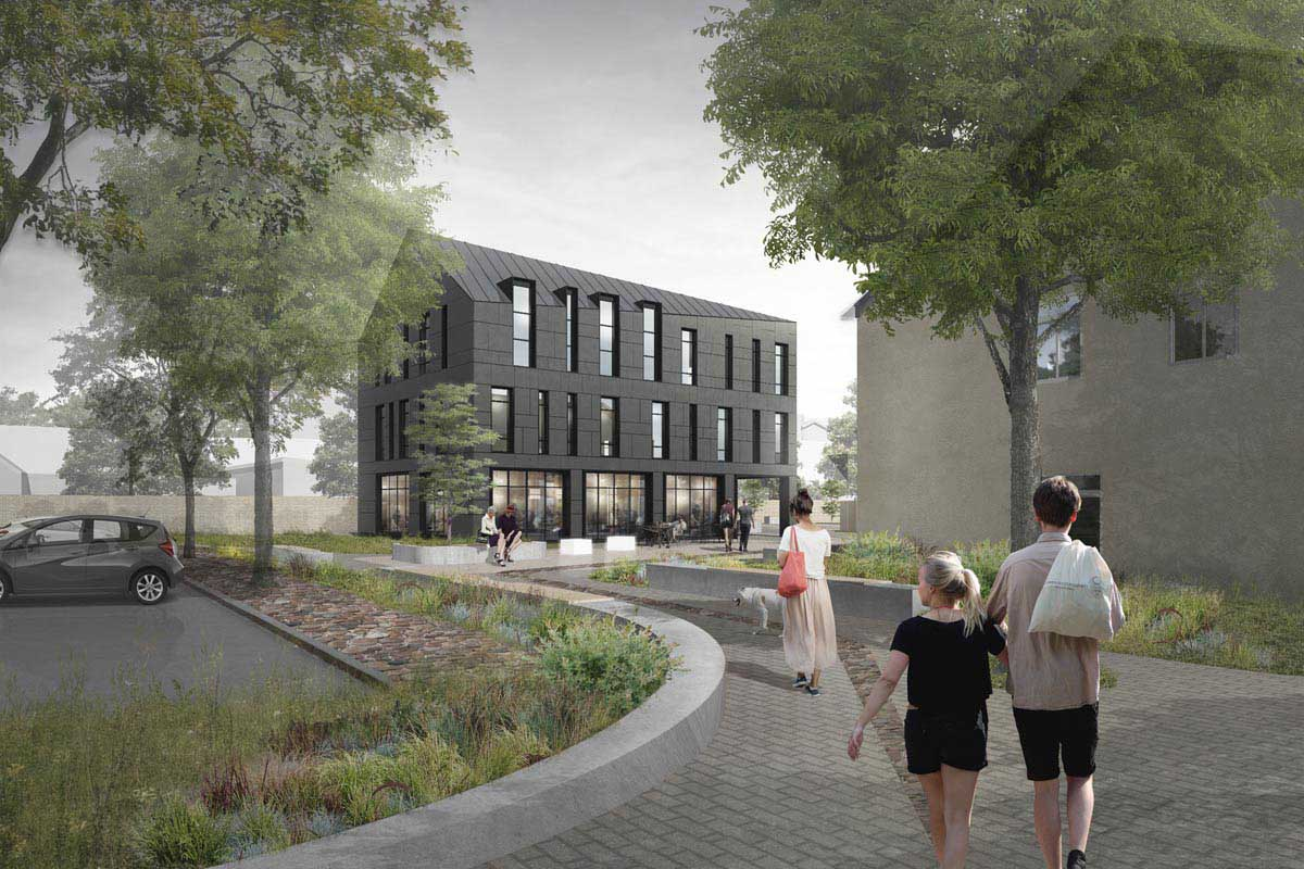 Publiskas biroju ēkas 3D arhitektūras projekts ar pelēku plākšnu fasādes apdari Platā iela 8 Ventspils