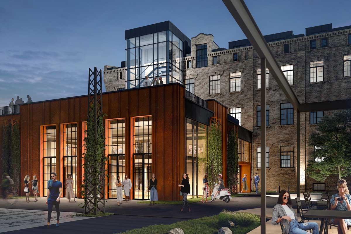 Publiskas biroju ēkas ar rūsējoša metāla corten fasādes izstāžu zāli un stikla kāpņutelpu rekonstrukcijas un atjaunošanas projekta 3D vizualizācija ar labiekārtotu ainavisku dārzu Sporta iela 2 Rīga