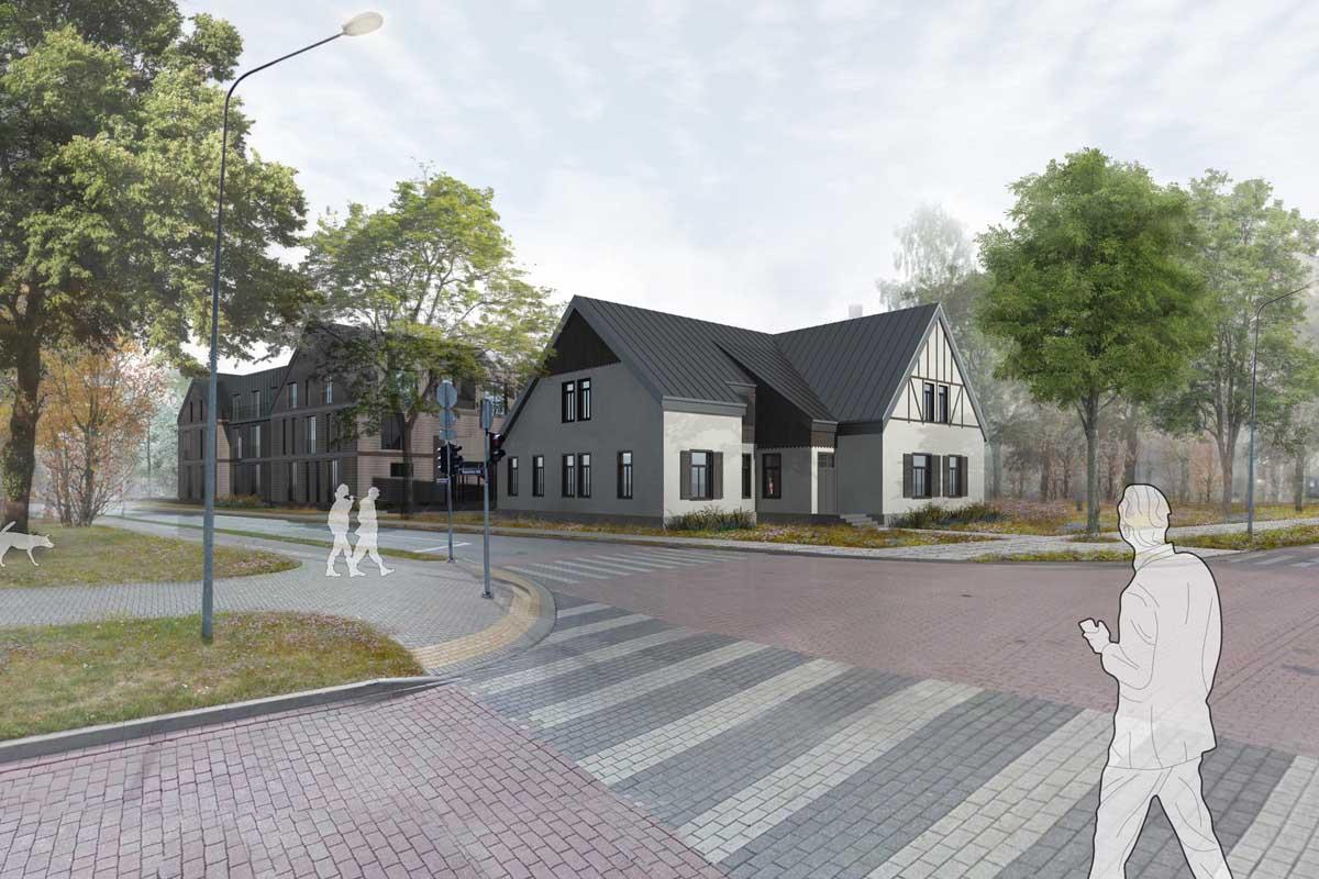 Viesnīcas rekonstrukcijas un atjaunošanas projekta 3D fotovizualizācija koka vēsturiskai apbūvei parkā Vasarnīcu iela Ventspils