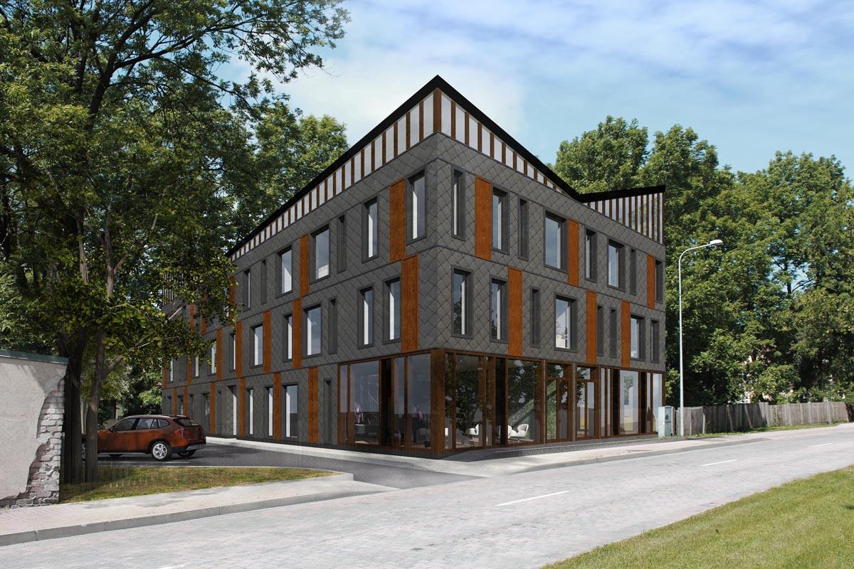 Dzīvojamās mājas projekta vizualizācija ar tumši pelēku šķiedrcementa plākšņu apdari Ventspilī Prāmju ielā 3