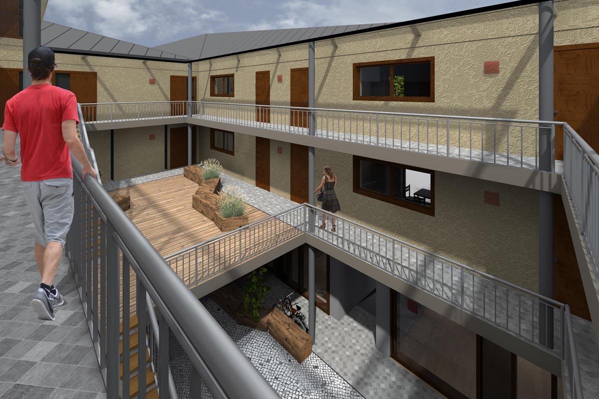 Dzīvokļu apartamentu iekšpagalms ar galeriju