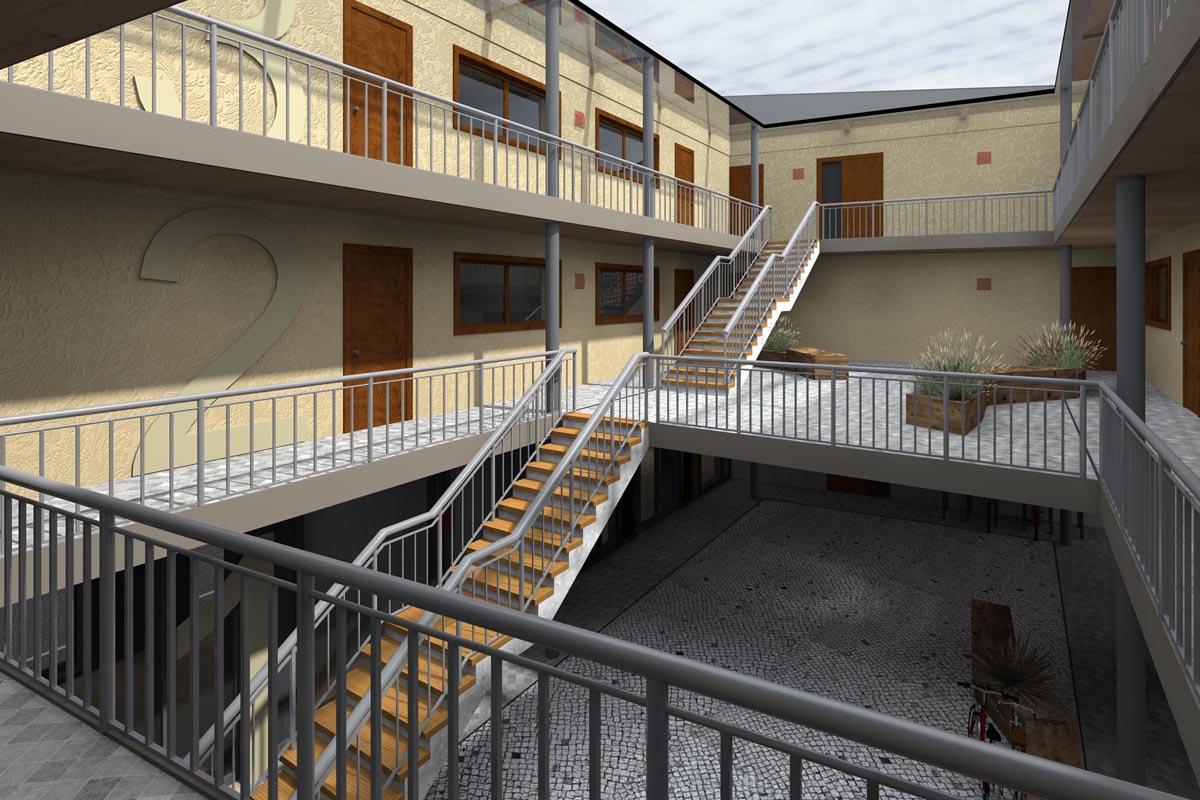 Dzīvojamās ēkas mājīgs ātrija dizains ar kāpnēm un galerijām