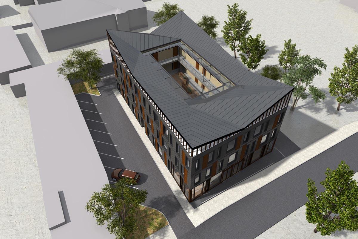 Skats no augšas birdview uz aparamentu ēkas arhitektūras 3D vizualizāciju ar iekšpagalmu