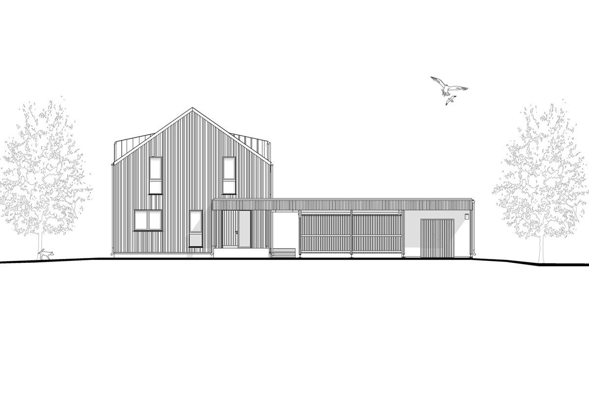 Privātmājas arhitektūras projekta fasādes rasējums