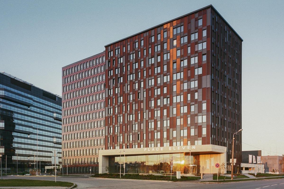 Daudzstāvu biroju ēka Place Eleven rajonā Skanste Sporta ielā 11 Rīgā