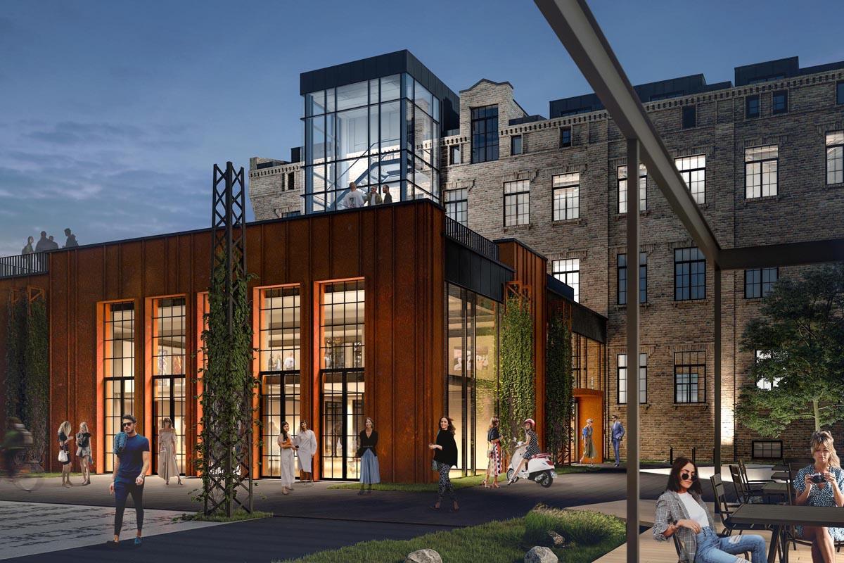 Biroju ēkas projekta vizualizācija Sporta 2 kvartālā iekšpagalmā ar labiekārtojumu un apzaļumojumu un ķieģeļu vēsturiskās ēkas fasādes atjaunošanu