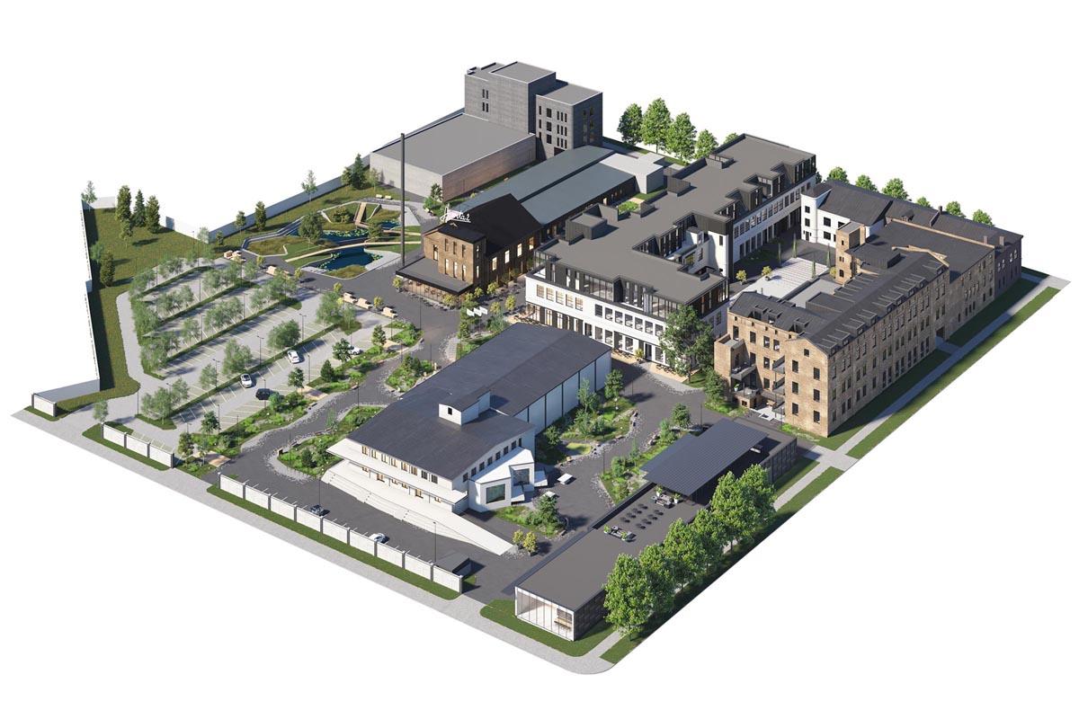 Ķieģeļu industriālas ēkas arhitektūras vizualizācija ar balkoniem, loft birojiem un apzaļumotu labiekārtojumu