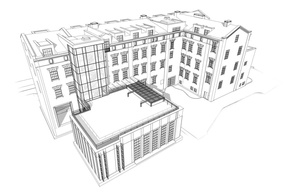 Industriālas piecstāvu ēkas ar pagalma piebūvi 3D BIM modeļa skats no augšas