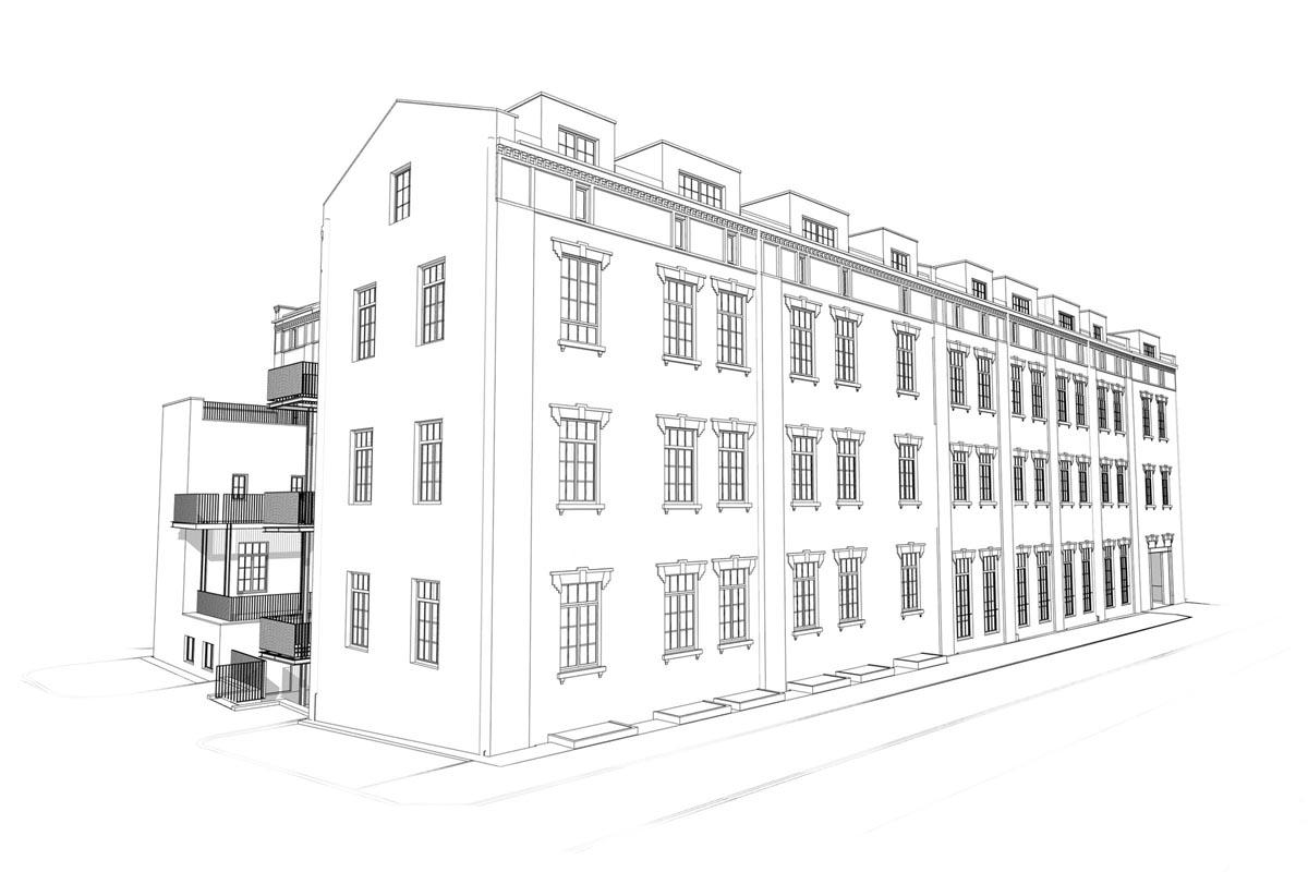 3D modeļa melnbalts skats uz piecstāvu ēkas fasādi no Vesetas ielas