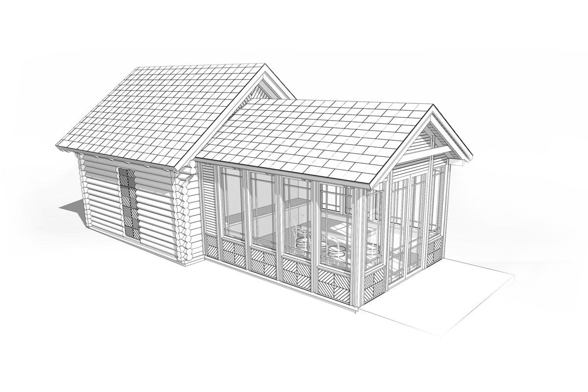 Vēsturiskas guļbaļķu klēts atjaunošanas projekts un verandas jaunbūve