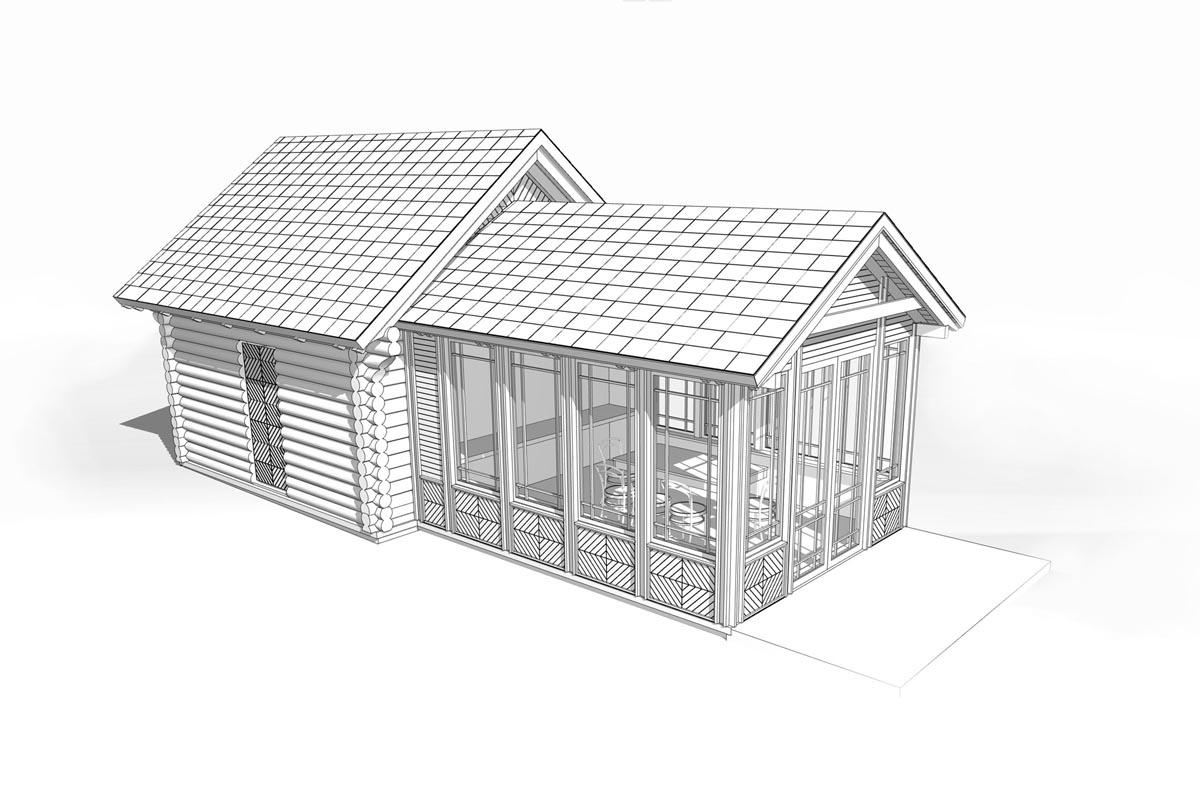 Klēts un verandas arhitektūras 3D modelis skatā no augšas