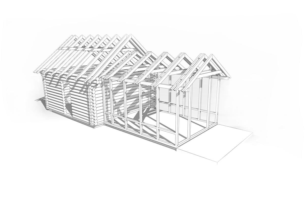 Guļbaļķu ēkas restaurācijas 3D modelis ar koka spērēm