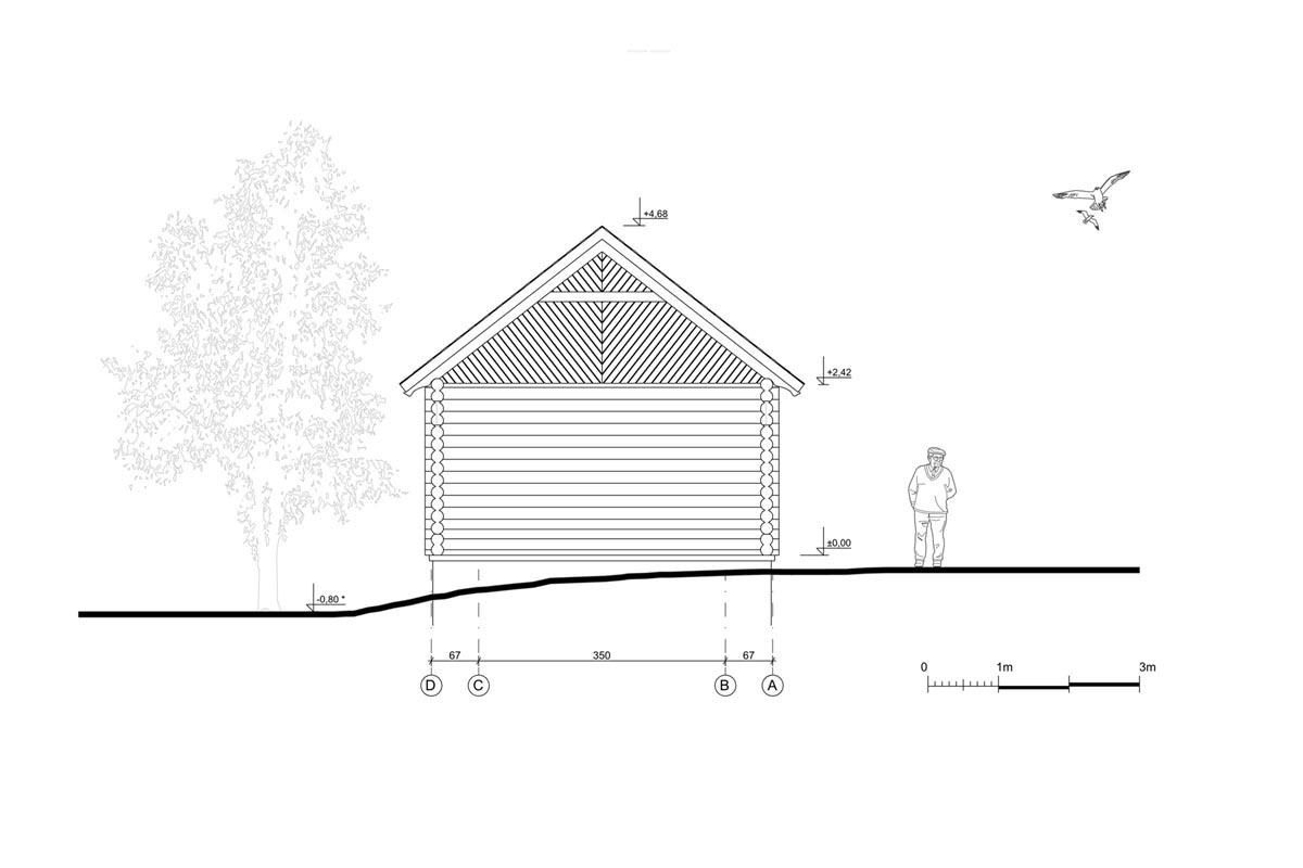 Fasādes rasējums atjaunošanas un restaurācijas projektam ar guļbūvi lauku sētā