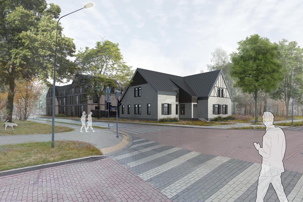 Hotel in Ventspils. Viesnīcas ēkas projekta vizualizācija koka ēkas atjaunošanai un jaunbūves arhitektūrai Ventspilī, Vasarnīcu ielā 11