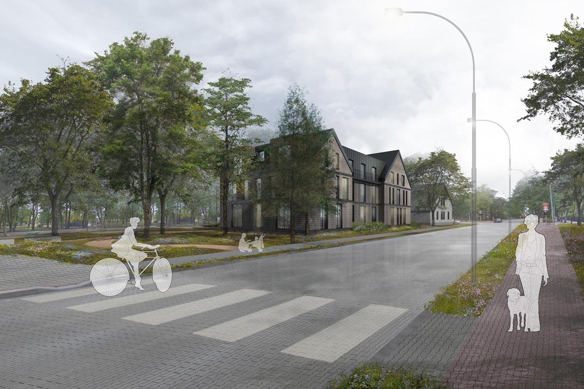 Viesnīcas ēkas atjaunošanas projekta 3D vizualizācija Ventspilī
