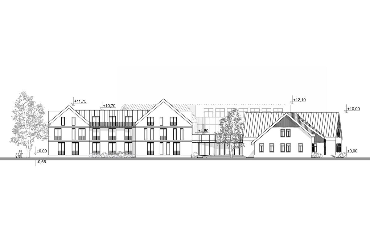 Viesnīcas ēkas atjaunošanas projekta fasādes rasējums