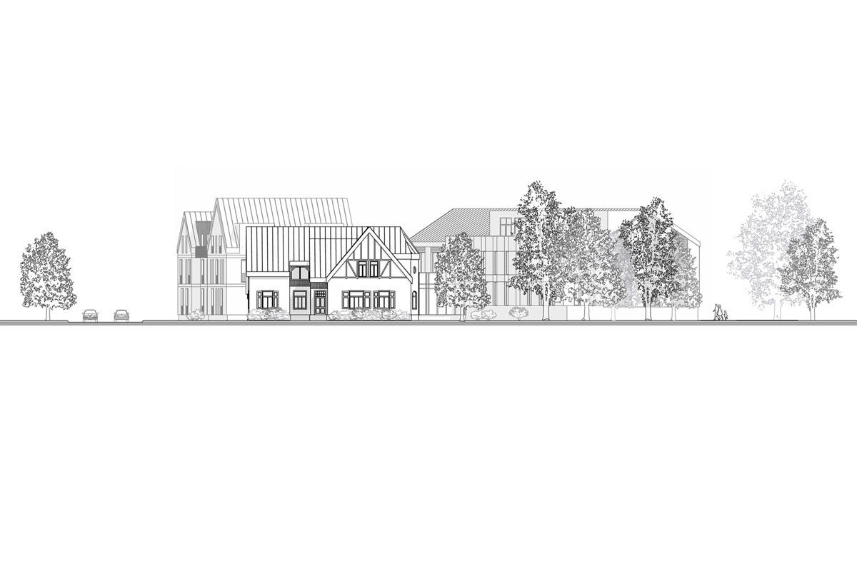 Viesnīcas ēkas fasādes rasējums